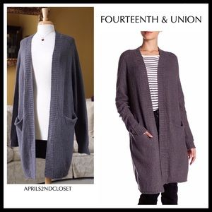 LONG CARDIGAN OPEN FRONT GREY DUSTER POCKETS A2C